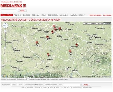 Mapa událostí na Mediafaxu